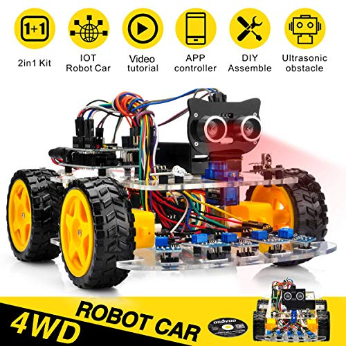 OSOYOO Robot Car Starter Kit for Arduino UNO | STEM Remote Controlled App Educational Motorized Robotics for Building Programming Learning How to Code | IOT Mechanical DIY Coding for Kids Teens Adults