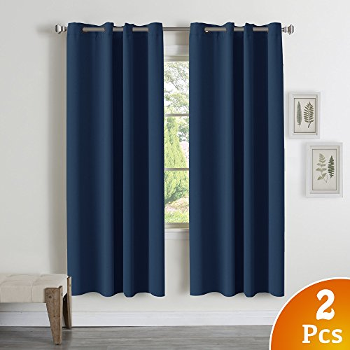 (Navy Blue Blackout Draperies Curtains - All Season Thermal Insulated Solid Grommet Curtains/Drapes for Kid's Room, Blackout Door Curtains for French Door (2 Pack, 52 x 72 Inch))