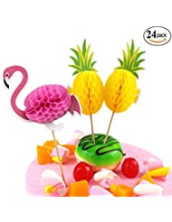 NADARDA Unique 3D Flamingo Pineapple Cupcakes Toppers Party Supplies, Cocktail Picks Cake Decoration for Luau Hawaii Wedding Beach Party,Cake Decoration (24 Pcs )