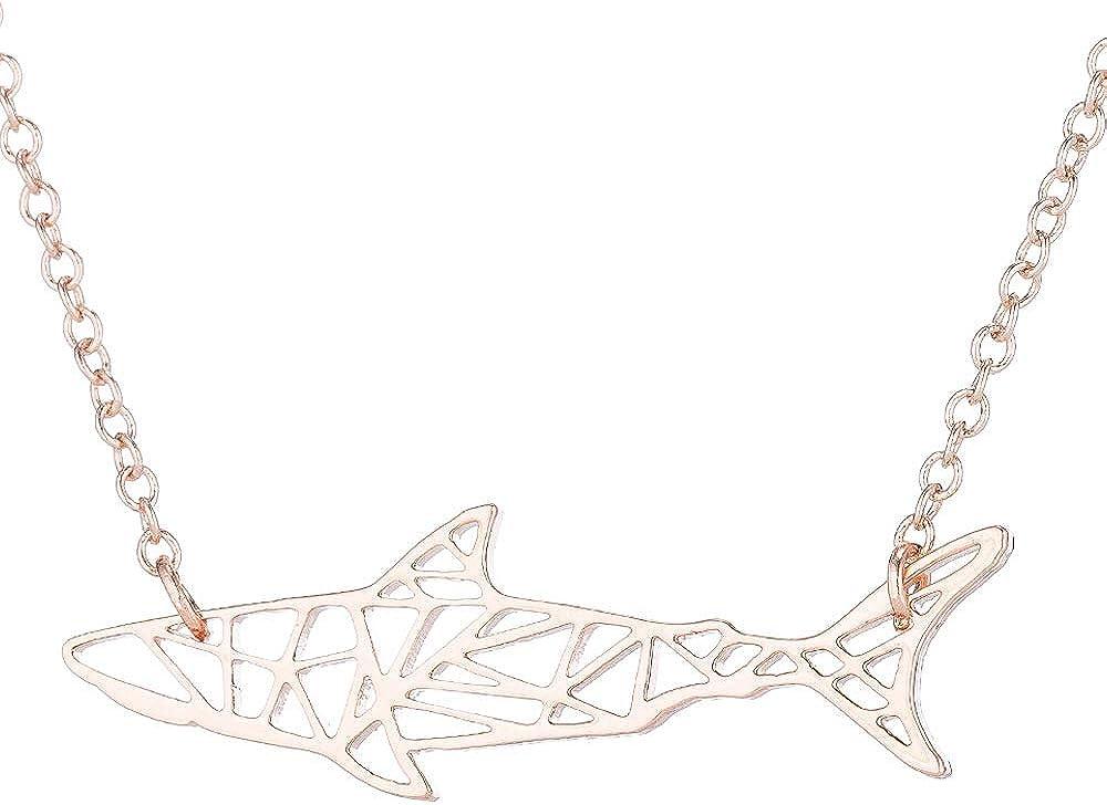 La Espoir Orugami Paper Shark Necklace Sea Animal Fish Pendant Necklace