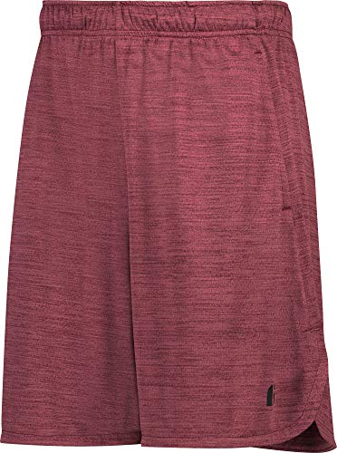 (Dry Fit Gym Shorts for Men - Mens Workout Running Shorts - Moisture Wicking with Pockets and Side Hem Burgundy)