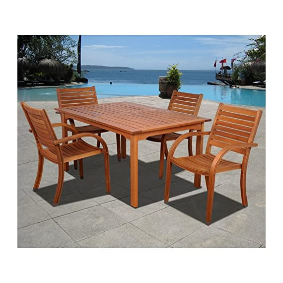 Amazonia Arizona 5-Piece Patio Rectangular Dining Table Set | Eucalyptus Wood | Ideal for Outdoors and Indoors - Item may ship in more than one box and may arrive separately Amazonia Eucalyptus Collection 1 Rectangular Table 59Lx36Wx29H    4 Stacking Armchairs 23Wx23Dx36H .Seat Dimensions:16.5Wx17Dx18H. - patio-furniture, dining-sets-patio-funiture, patio - 51aFIo4k3 L. SS570  -
