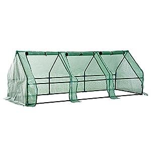 Outsunny Serra da giardino a tunnel in PE telaio in acciaio 270x90x90cm verde trasparente 3 spesavip
