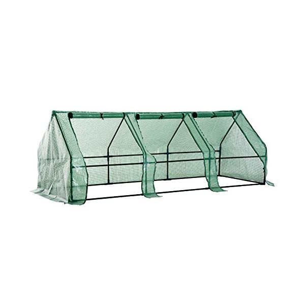 Outsunny Serra da giardino a tunnel in PE telaio in acciaio 270x90x90cm verde trasparente 1 spesavip