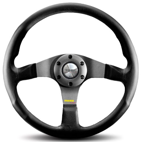 MOMO TUN35BK0S Tuner Silver 350 mm Leather Steering Wheel