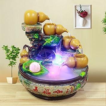 Feng Shui suerte ronda adornos rocalla fuente de agua sala Oficina decoracion acuario bonsái la apertura de regalo de bienvenida,890 impropios nebulizador ...