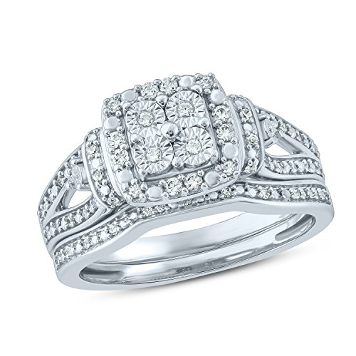 Tesero Mio Sterling Silver 1/4 Carat Round Cut (I-J Color, I2-I3 Clarity) Natural Diamond Wedding Ring for Women, US Size 7 ()