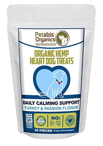 Organic Hemp Heart Dog Treats - Daily Calming Support - Turkey, Passion Flower & Carob - 30 pieces
