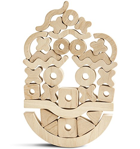 Suspend Game - Waldorf Toys - Balance Board Game - Creative Balancer - Unfinished Wooden Toys - Logical Reasoning - Toy Wooden Blocks - 30 pcs 2 bases with endless (Unfinished Wooden Toy)