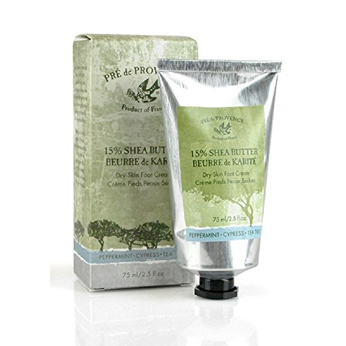 Pre de Provence 15% Natural Shea Butter Foot Cream for Treating & Soothing Dry, Cracked Feet - Peppermint (2.5 oz) (Shea Butter Foot)