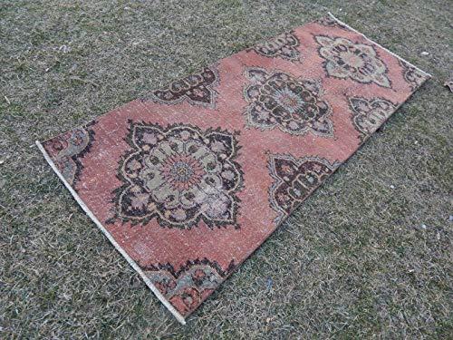 Hand Knotted Turkish Carpet, Traditional Turkish Design Area Carpet, Unique Pattern Boho Gift, Indoor Outdoor Mat, Vintage Traditional Short Rug Runner 2.8 x 7 Ft (84 x 212 Cm) ()