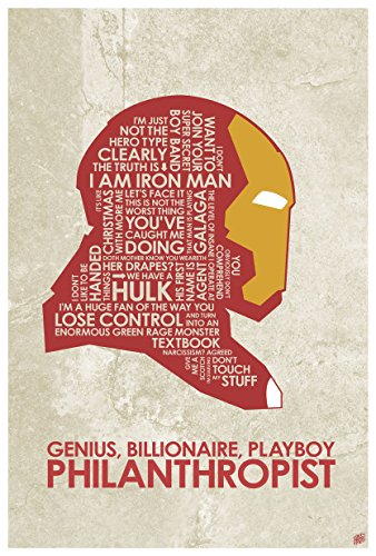 The Avengers, Iron Man,Genius, Billionaire, Playboy Philanthropist Word Art Print Poster (12