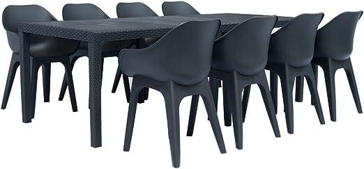 Festnight Conjuntos de Muebles con 1 Mesa y 8 sillas al Aire Libre en el Jardín Plástico Gris Antracita 9 Piezas: Amazon.es: Hogar