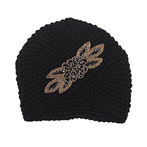 (♫2018 Fashion Hat,Womens Solid Cross-Studded Winter Warm Knit Crochet Braided Turban Headdress Pullover)