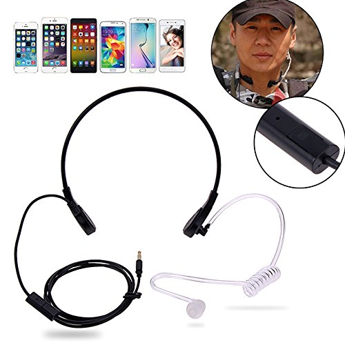e Mic Headphones Covert Acoustic Tube Throat Earpiece Headset,PTT Headset for iPhone HTC Android Universal Mobile Phone by Aoile(Black) ()