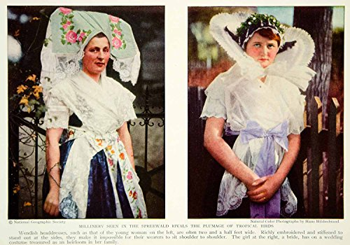 1931 Color Print Millinery Wendish German Costume Fashion Headdress Bride NGM7 - Original Color Print