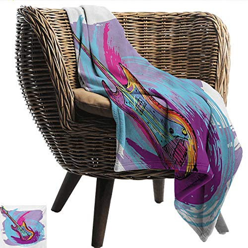 Davishouse Music Reversible Blanket Illustration of Electric Guitar Artistic Modern Musical Festive Sofa Chair 30