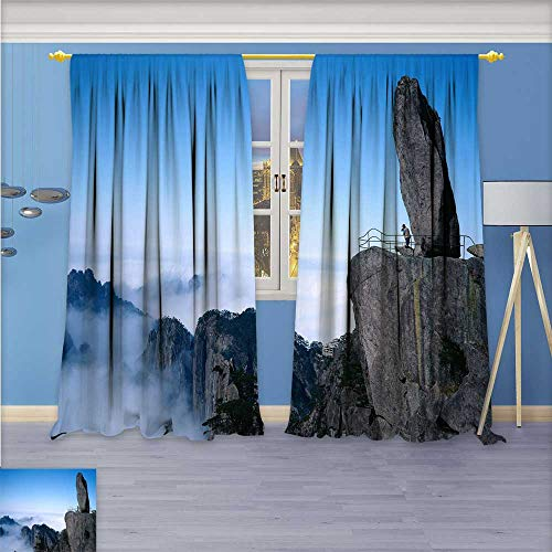 Design Print Grommet top Thermal Insulated Mount Huangshan Linen Room Darkening Curtains 72W x 96L Inch