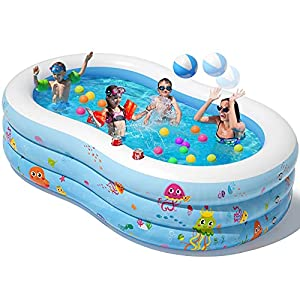 Peradix Piscina Hinchable, 240×150×60 cm Piscinas para Niños, 613 litros Piscina Hinchable Niños Grande de Jardín,Piscinas InfantilInteriores y Exteriores Diseñadas con Cojines Inflables de Burbujas