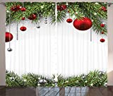 Ambesonne Christmas Curtain Decorations by, Noel Backdrop with Fir Leaves Bright Balls Classic Religious Xmas, Christmas Decorations Living Room Bedroom Curtain 2 Panels Set, 108 X 84 Inches, Multi For Sale