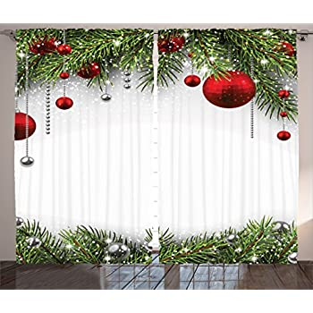 Amazon Com Christmas Curtain Red Green Decorations By