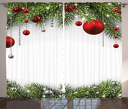 Christmas Curtain Decorations by Ambesonne, Noel Backdrop with Fir Leaves Bright Balls Classic Religious Xmas, Christmas Decorations Living Room Bedroom Curtain 2 Panels Set, 108 X 84 Inches, Multi (Noel Christmas Decorations)