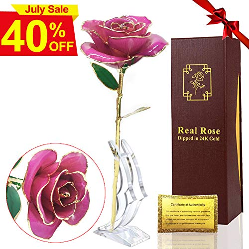 (24k Gold Rose, Red Gold Plated Rose 24k Gold Dipped Rose Long Stem Real Rose with Crystal Stand Unique Romantic Gift for Anniversary, Wedding, Birthday)