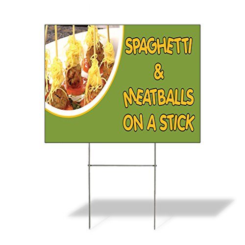 Plastic Weatherproof Yard Sign Spaghetti & Meatballs On A Stick Spaghetti & Meatballs On A Stick Concessions Blue for Sale Sign Multiple Quantities Available 18inx12in One Side Print One Sign ()