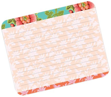 Pink Flower on Cyan Medium Memo Pad by