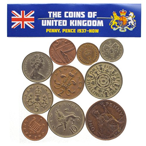 Mixed Lot UK England Great Britain Coins Pound Penny Shilling Pence 1937-Now (10)