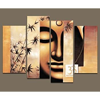 Incroyable Wieco Art   Large Modern 4 Piece Stretched And Framed Giclee Canvas Prints  Artwork Buddha Abstract