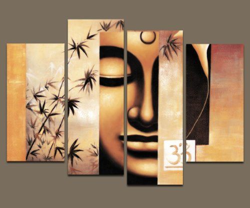 Wieco Art - Large Modern 4 Piece Stretched and Framed Giclee Canvas Prints Artwork Buddha Abstract Oil Paintings Reproduction on Canvas Wall Art Ready to Hang for Living Room Home Decorations L (People Oil Painting)