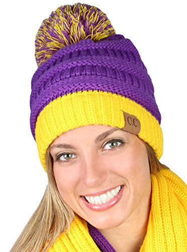 Spirit Referee Costume (CC Beanie Pro College High School Team Game Day Pom Hat - Purple & Gold)