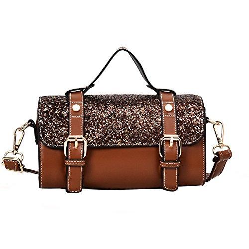 Polyvalent Main Brown Nouveaux Mode Meaeo Dames Noir Paillettes Carré Sacs À Sac De Petit Portable Couleur C1wwqzpx
