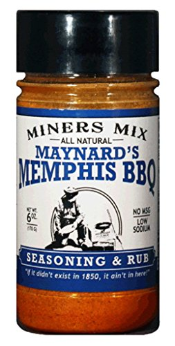 Miners Mix Maynards Memphis BBQ Rub No MSG Low Salt 6 oz Jar (Best Dry Rub For Baby Back Ribs)