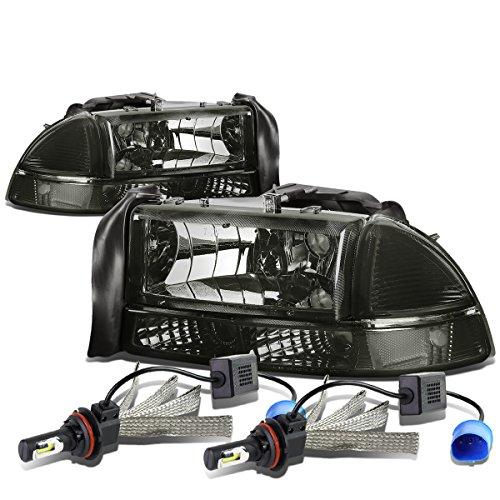For Dodge Dakota/Durago 4Pc Pair of Smoked Lens Clear Corner Headlight + 9007 LED Conversion Kit ()