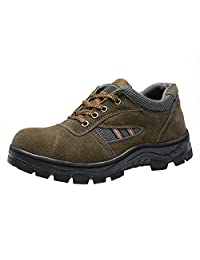 Optimal Safety Shoes Men Work Shoe With Steel Toe Cap Brown Color
