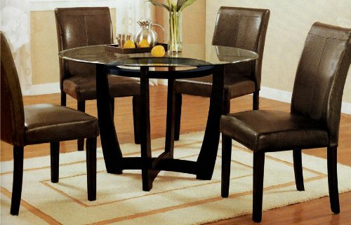 Roundhill Furniture Wesley 5-Piece Round Glass Top Cappuccino Finish Dining Set -