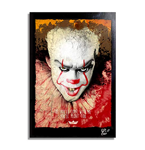 Pennywise The Clown from IT Movie (2017) - Pop-Art Original Framed Fine Art Painting, Image on Canvas, Artwork, Movie Poster, Halloween, Horror ()