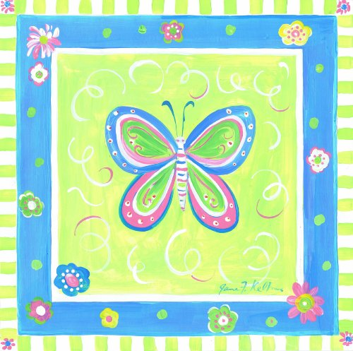 The Kids Room by Stupell Blue Butterfly with Green Border Square Wall Plaque by The Kids Room by Stupell