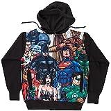 DC Comics Justice League Heroes Batman Superman Mens Black Hoodie 2XL