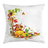 Ntpclsuits Kids Thanksgiving Pillow case Autumn Harvest Theme with Various Foods from Country Garden Agriculture 18 X 18 inches
