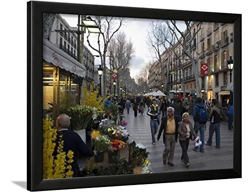 Barcelona Framed - ArtEdge Las Ramblas in The Evening, Barcelona, Catalonia, Spain, Europe Nick Servian, Black Framed Wall Art Print, 18x24 in