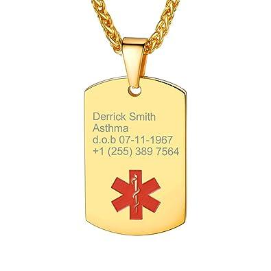 e3d857d5a6c2 Custom4U Acero Inoxidable Chapado en Oro Amarillo 18K Collar ID Alerta  Medical Etiqueta de Perro Personalizado Letras Grabar Láser Gratis Regalo  para ...