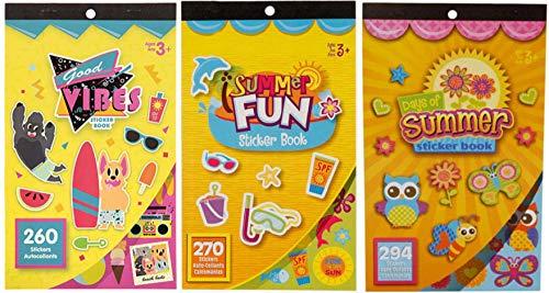 Kids Summer Beach Sticker Books- Good Vibes, Summer Fun, and Days of Summer- 824 Stickers