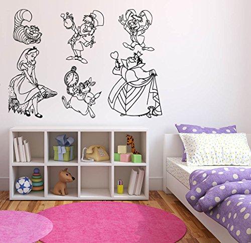 Wall Sticker Decals Alice in Wonderland Cartoon Rabbit Tea Time Cheshire Cat Girl Nursery Bedroom 1401b]()