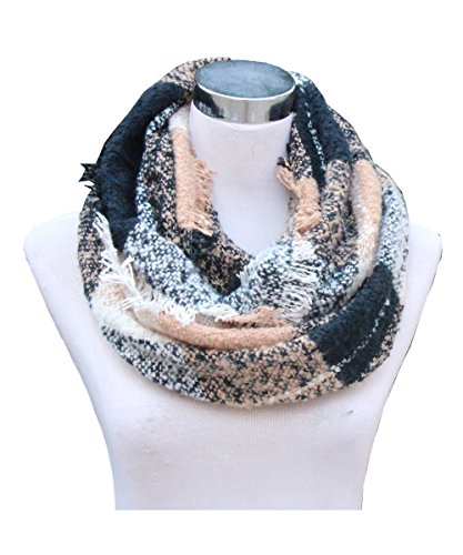 Lucky Leaf Women Girls Cozy Warm Thick Tartan Check Pattern Circle Loop Scarves (1-Black Beige Plaid)