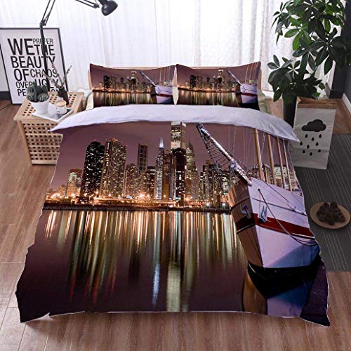 VROSELV-HOME 3 PCS King Size Comforter Set,Lakefront and Downtown Chicago from Navy Pier at Night,Soft,Breathable,Hypoallergenic,with 1 Pillowcase for Kids Bedding