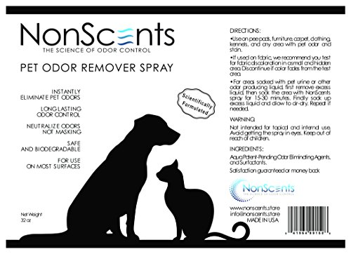 Large Product Image of NonScents Pet Odor Remover Spray - Eliminates Pet Smells - Use on Carpets, Sofas, Pee Pads - Outperforms Baking Soda & Enzymes