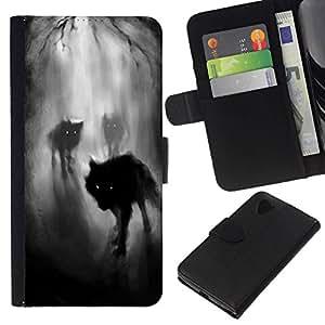All Phone Most Case / Oferta Especial Cáscara Funda de cuero Monedero Cubierta de proteccion Caso / Wallet Case for LG Nexus 5 D820 D821 // Fog Night Dark Woods Werewolf